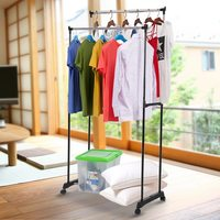 Metal Adjustable Double Rail Clothes Garment Dress Hanging Rack Display Stand Organizer on Wheels Shoes Storage Rack Heavy duty