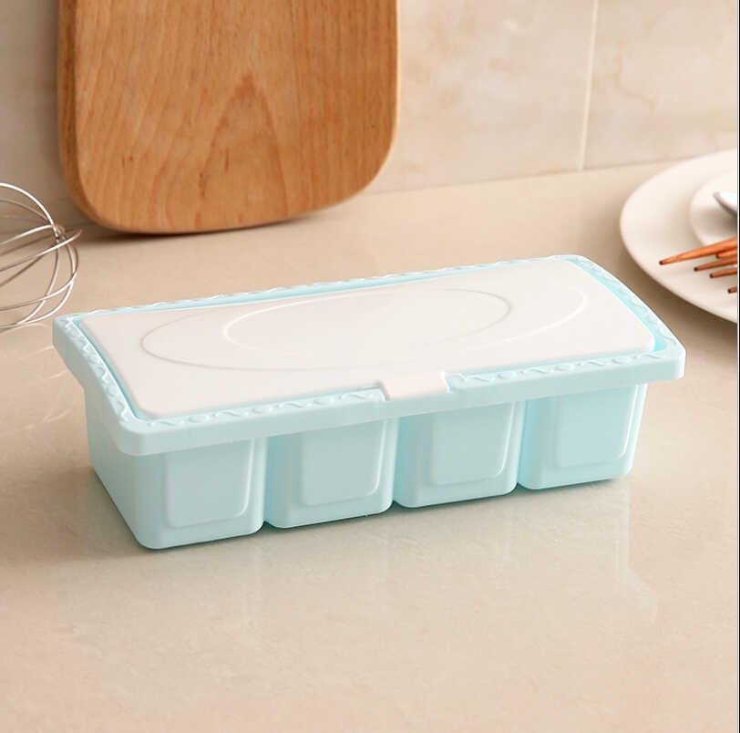 4 グリッドプラスチック Containaer ホルダー調味料ラックスパイスポットボックス収納調味料の瓶キッチンツール