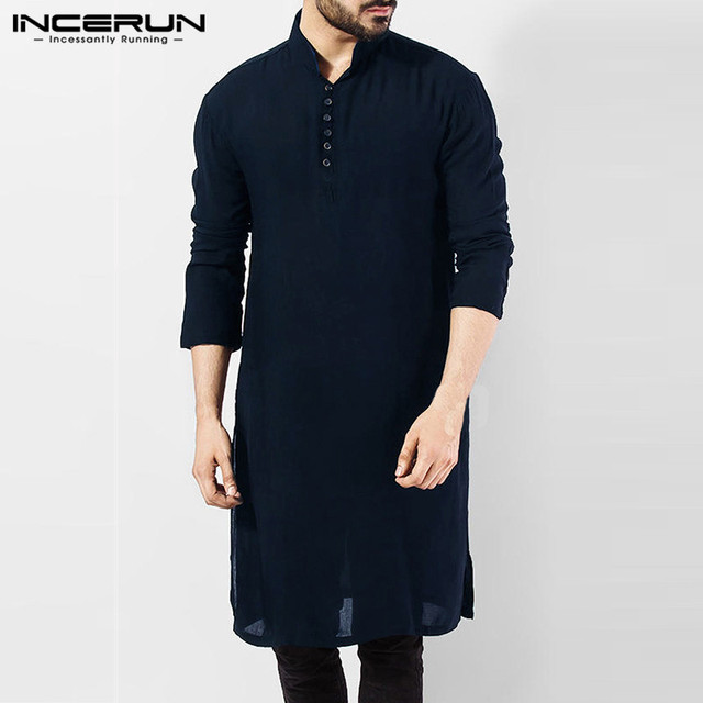 INCERUN Casual Men Shirt Cotton Long Sleeve Stand Collar Vintage Solid Stitched Long Tops Indian Kurta Suit Pakistani Shirt 5XL 1