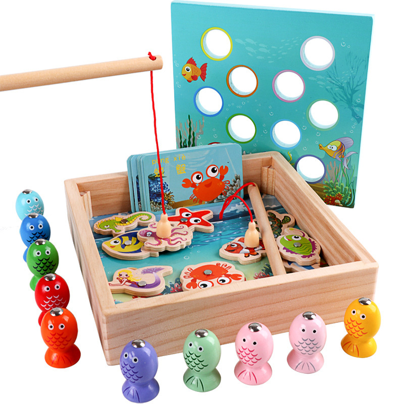 Stacking Blocks Childrens Wooden Stick Toy Fish Magnetic Toys Fishing Game Tin Box Childrens Educational Toys Parent-child Interactive Games Building & Construction Toys