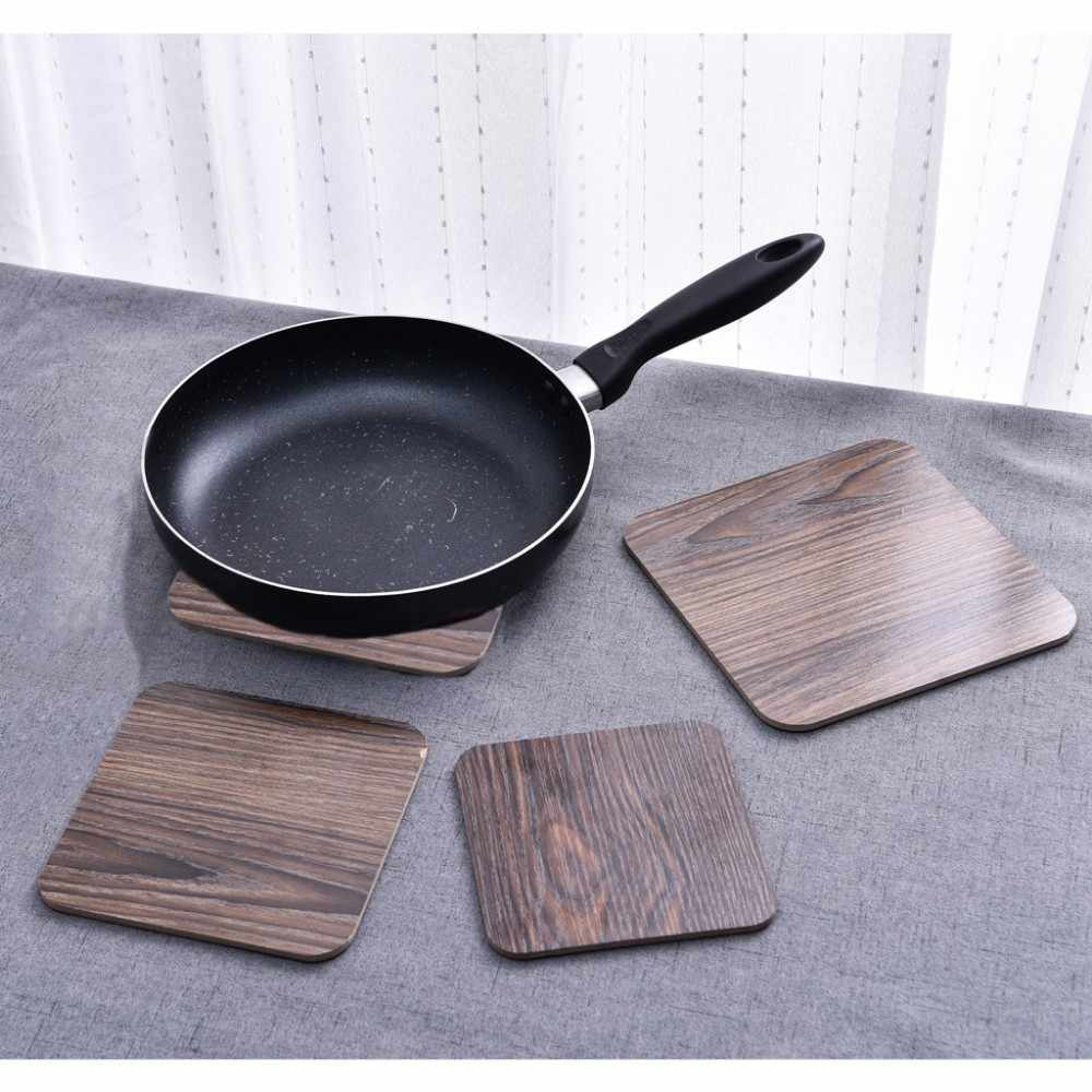 1 Pcs Durable Wooden Coaster Kitchen Square Heat Insulation Mat Bowl Placemat Anti-skid Pot Mat Home Table Tea Coffee Cup Pad