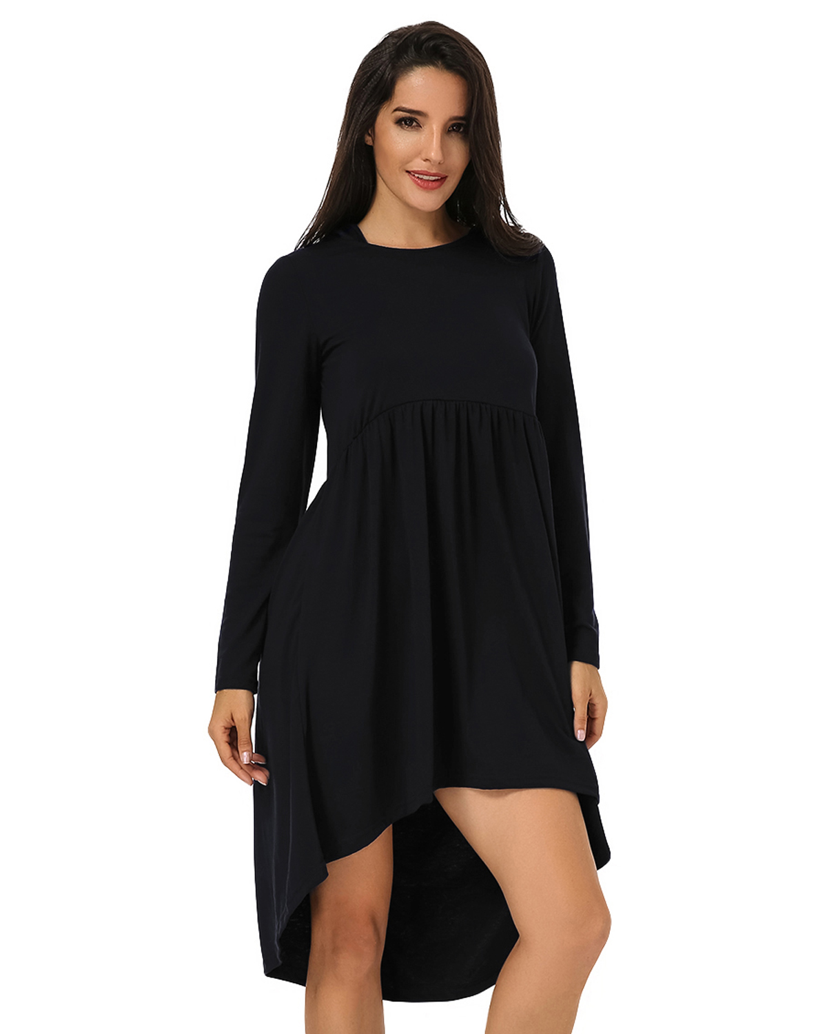 Plus Size Women Dresses Casual O Neck High Waist Mid-calf Long Sleeve Loose Solid Asymmetrical Elegant Party Dress Vestidos 2019