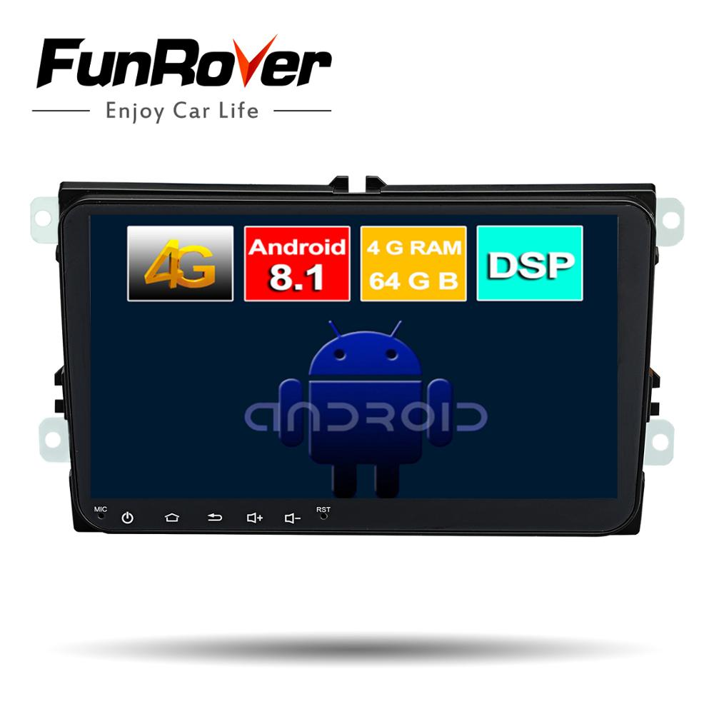 Funrover 2 Din Octa Core Android8.1 dvd de voiture gps multimédia stéréo Pour Volkswagen Golf Polo B6 B7 Jetta Radio navi DSP 4G 64G LTE