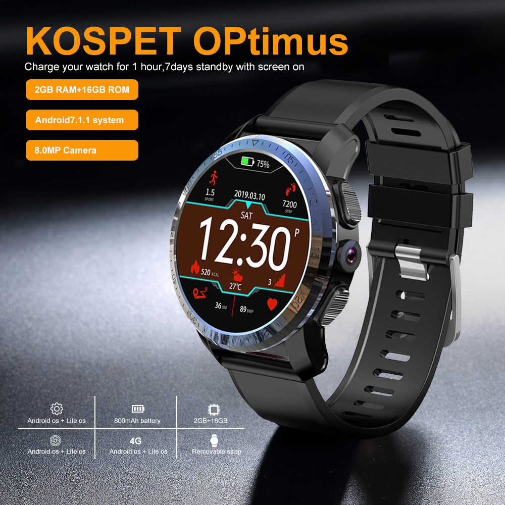0d7c1e0c9 Kospet Optimus Pro Smart Watch 3GB 32GB Dual System WiFi GPS Android 7.1.1  800mAh Battery Sport Smart Watch Phone Smartwatch Men