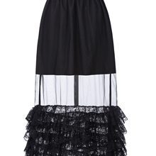 Women Sexy Netting See Through Ruffled Lace Hem Long Summer Casual Party Skirts