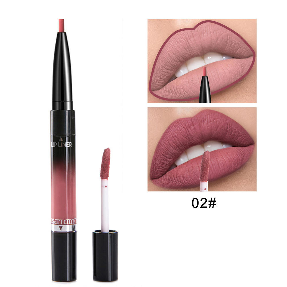 2 in 1 Lip Liner Lipstick Liquid Matte Waterproof Lip liner Contour Easy to Wear Lip Pen Makeup Red Nude Lip Pencil 6