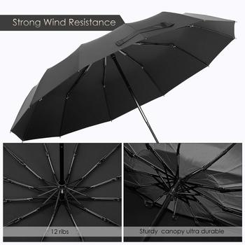 12 Ribs Windproof Travel Umbrella With Teflon Canopy, Lengthened Handle With Auto Open Close Button, Compact Protection From R 1