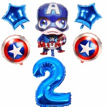 6pcs Large Captain America Foil Balloons 40inch Number And 18inch  Round Ballons Toy Super Hero Birthday Party Decoration Kids