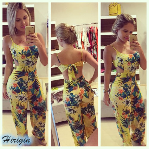 Summer Jumpsuits HOT Summer Women Casual Yellow Print Sleeveless Square Collar Backless Lace Up Jumpsuit