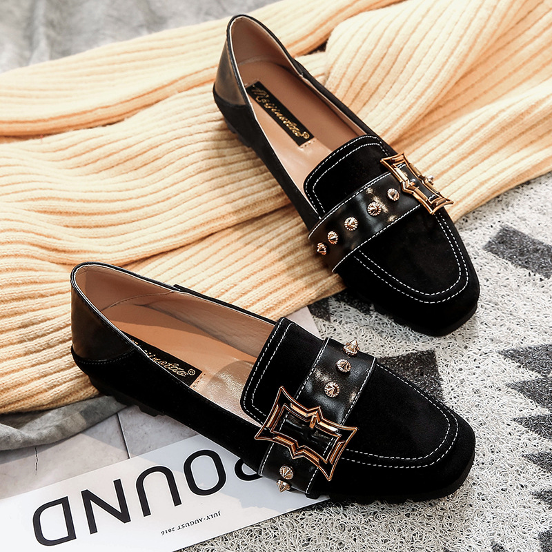 2019 Woman Rivet Shoes Spring New Flats Metal Moccasins Pointed Toe   Leather     Suede   Casaul Comfortable Flats Loafers Shoes