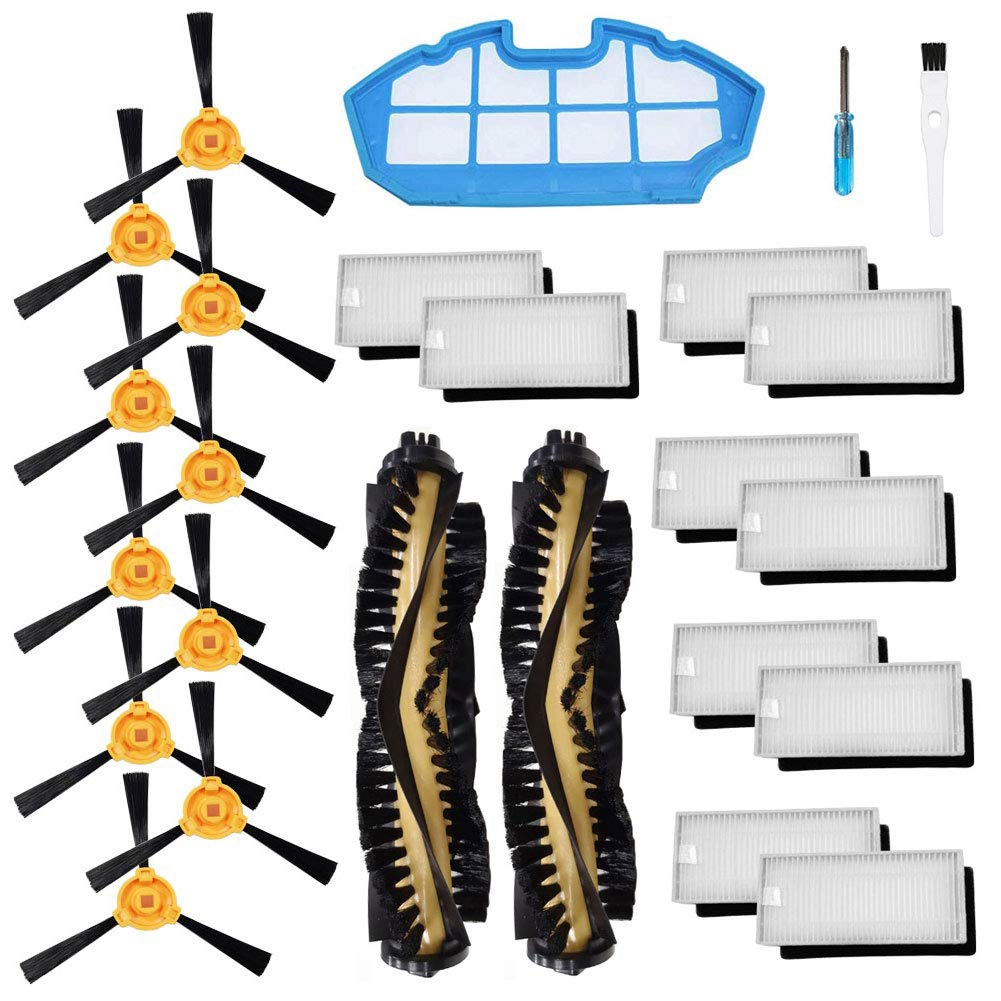 Accessories Kit For Ecovacs Deebot N79S N79 Robotic Vacuum Cleaner Filters,Side Brushes,Main Brush (2+1+10+10)