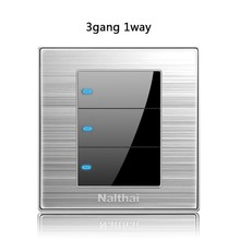 86type 3 Gang 1Way Press button home switch Acrylic with led brushed stainless steel mirror light point switch UK Germany socket popular brushed stainless steel led backlit house numbers