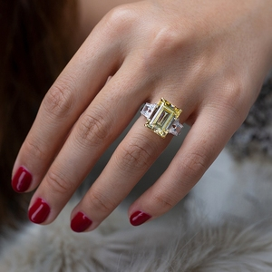 Image 5 - PANSYSEN Elegant lady 10x14mm Citrine Emerald Rings for Women 100% Genuine Sterling Silver 925 Jewelry Ring 6 Colors Size 4 12