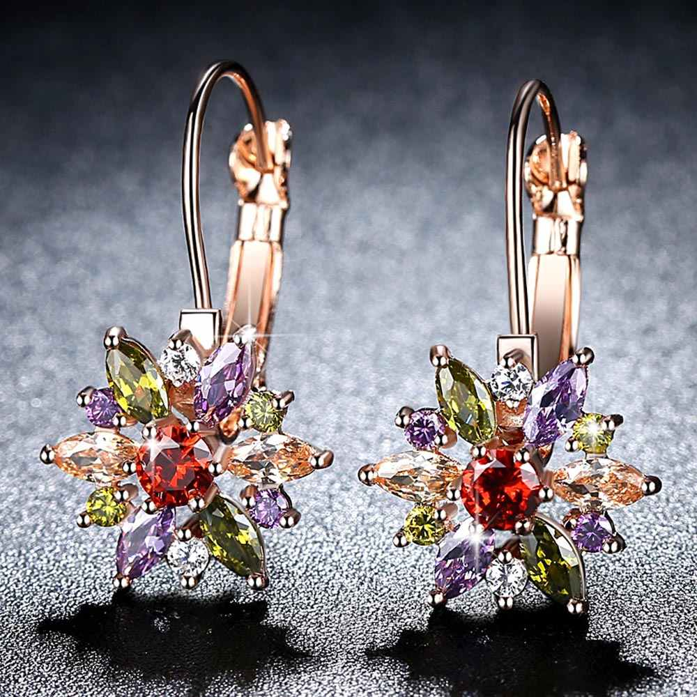 Beiver Brand 4 Color Crystal Flower Stud Earrings For Women 2017 Bijoux Vintage Love Wedding Earring Statement Jewelry