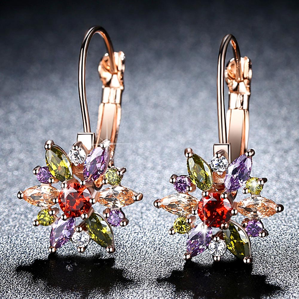 Beiver Brand 4 Color Crystal Flower Stud Earrings For Women 2017 Bijoux Vintage Love Wedding Earring Statement Jewelry