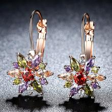 Beiver Brand 4 Color Crystal Flower Stud Earrings For Women 2017 Bijoux Vintage Love Wedding Earring Statement Jewelry(China)