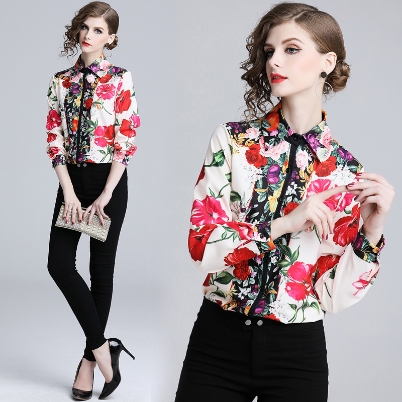 Quality 2018 Runway Designer   blouse     shirts   Women's Elegant Party Floral Flower print Vintage   blouse   red