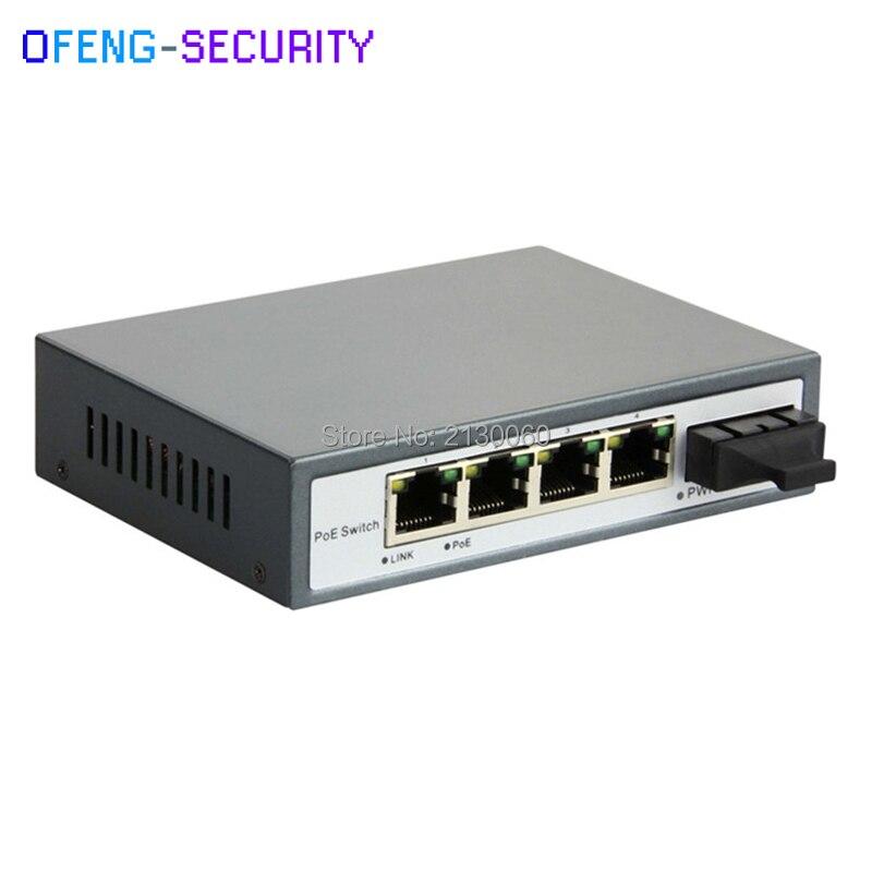 Commutateur POE 5 ports 10/100 M 4 xPOE + 1 port xfiber 65 W puissance 802.3af/at, double fiber SC SM, 1310nm