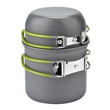 1-2 человек алюминиевый сплав Открытый кемпинг портативная плита набор зеленая ручка кухонный горшок с сетка для хранения сумка