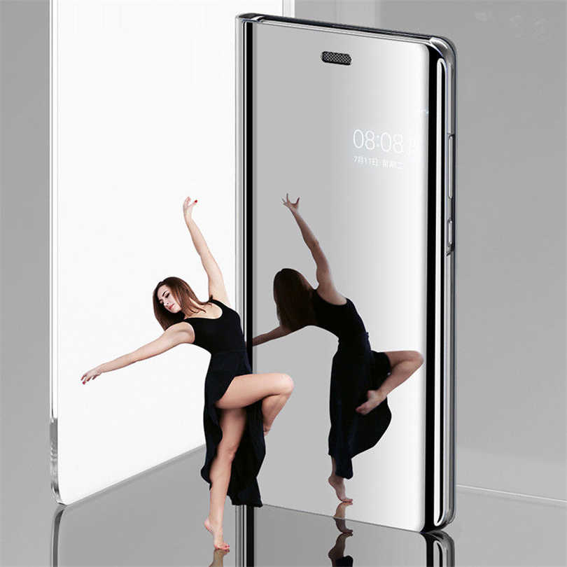 Transparent View Mirror Phone Case For Huawei Y5 Y6 Y7 Prime 2018 Y9 2019 Waterproof Kickstand Shelf Cover Cases DYee