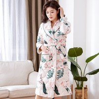 Winter Chinese Female Cotton Nightgown Sleepwear Thick Warm Robe Kimono Flower Print Bathrobe Nightgown
