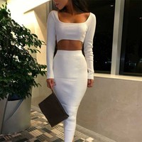 MUXU White long sleeve dress white woman clothes two piece set streetwear vestidos jurken elbise casual kleider sukienka bodycon