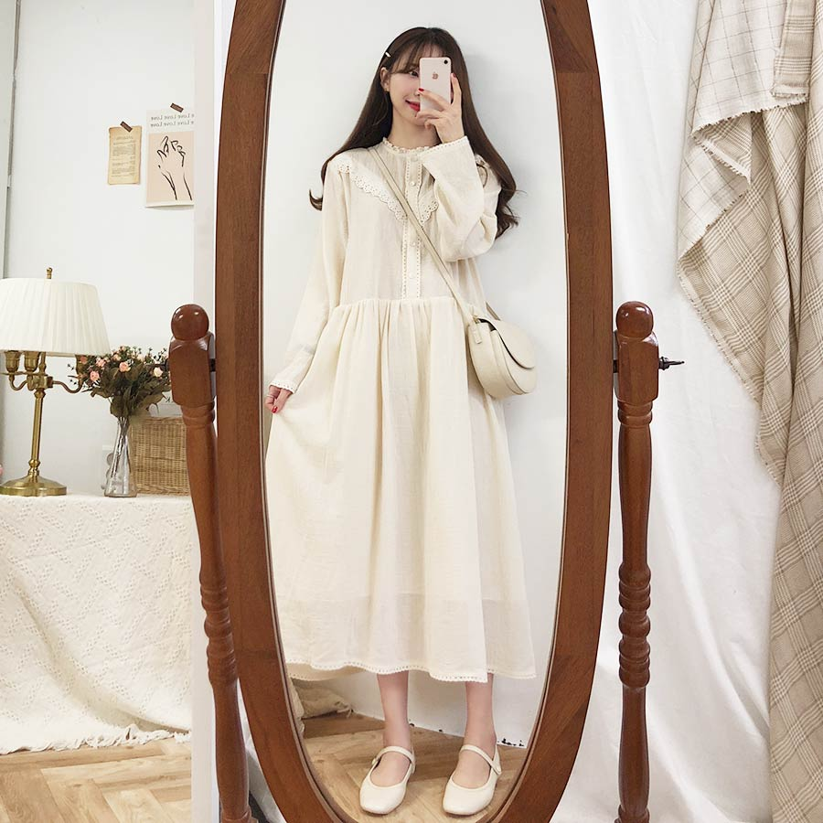 2019 New S-XL Spring Robe Femme Casual Boho OL Casual Cotton Linen Long Sleeve Women Dresses Female Dress Robe Femme Vestido