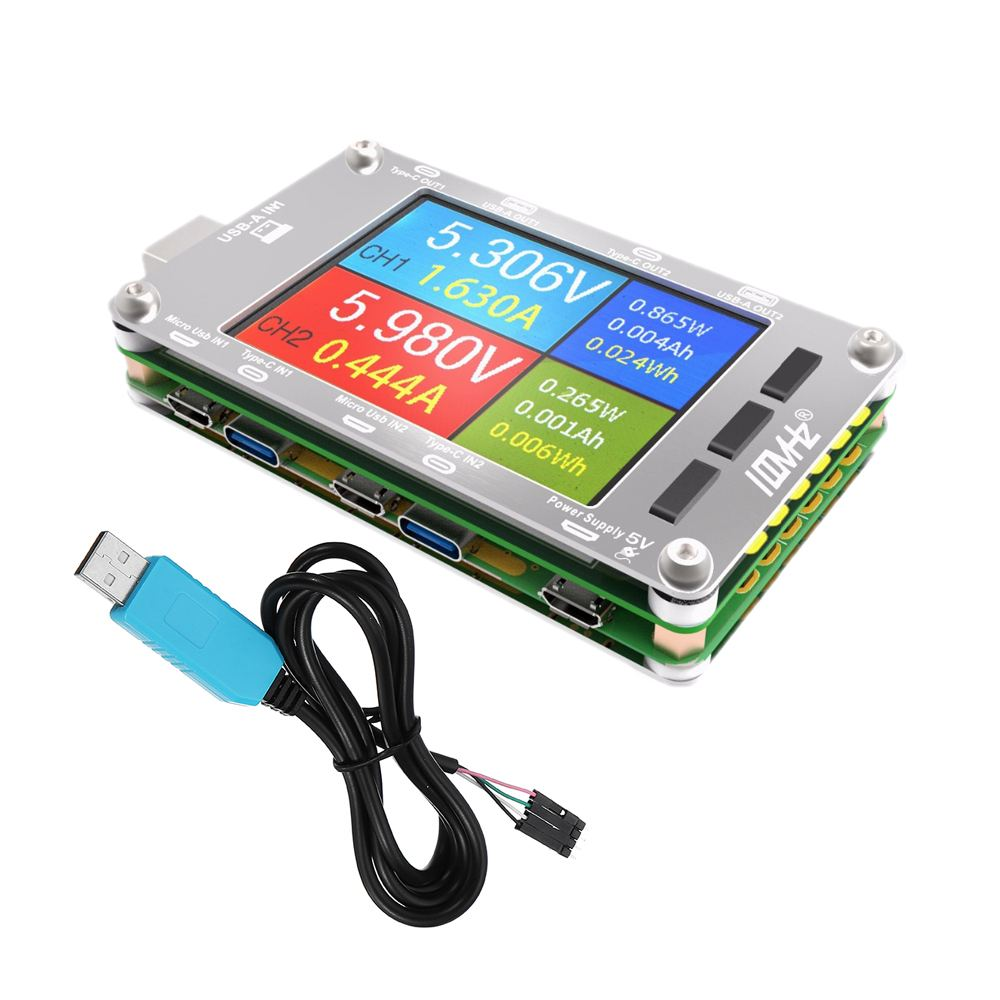 T50N USB Double Canal Couleur Écran Tension Puissance Actuelle Mètre QC2.0 QC3.0 PD Test Avec Cas