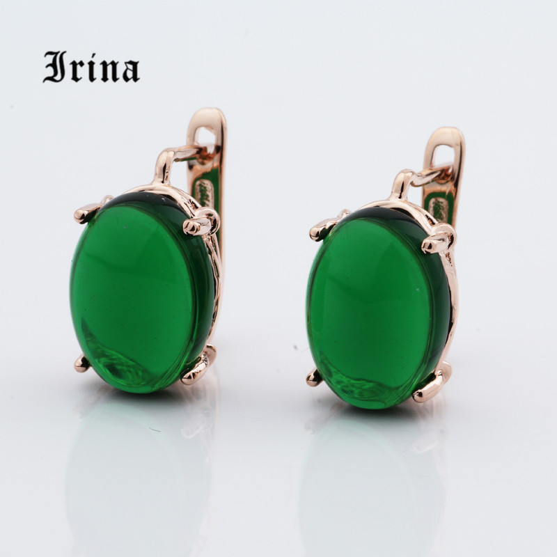 Irina New Design Creative 5 Color Rose Gold Big Earrings Oval Stone Dangle Earrings India Vintage Jewelry 555