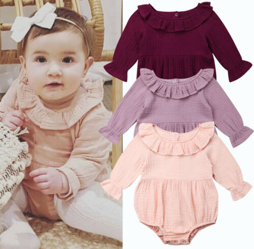 Baby Girl Long Sleeve One Piece   Romper   Jumpsuit Ruffles Round Neck New Style Lovely Girls Sunsuit Clothes