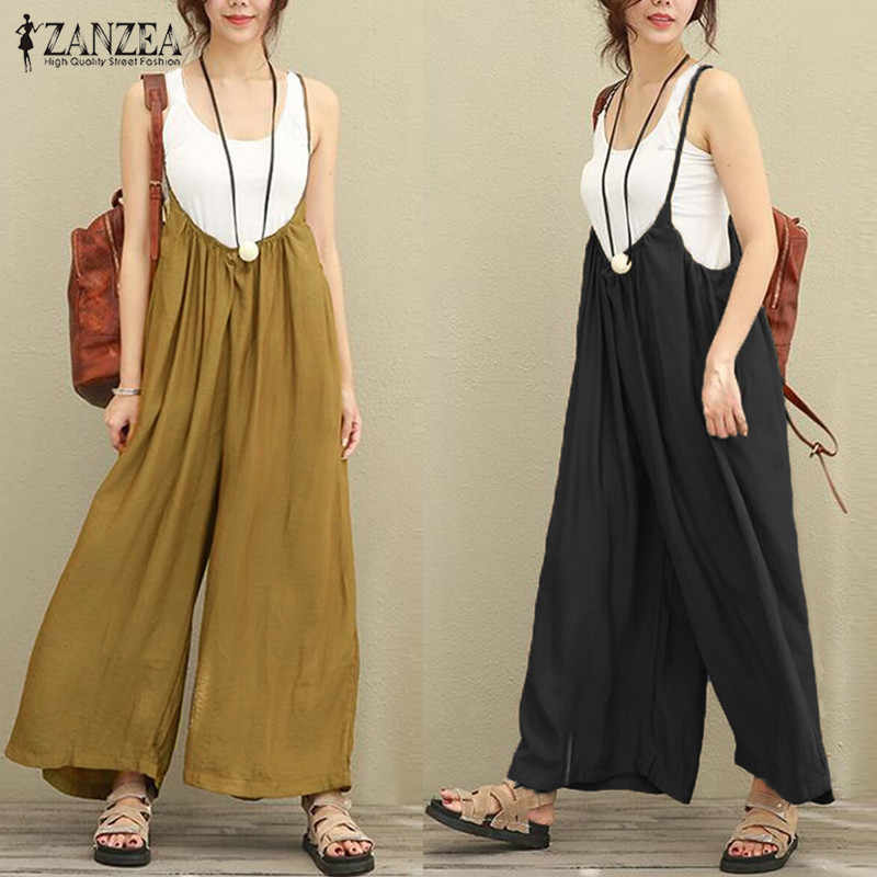 97f0181e2b79 Detail Feedback Questions about 2018 New ZANZEA Women Overalls Rompers Plus  Size S 5XL Sleeveless Dungarees Long Trousers Wide Leg Pants Cotton Linen  ...