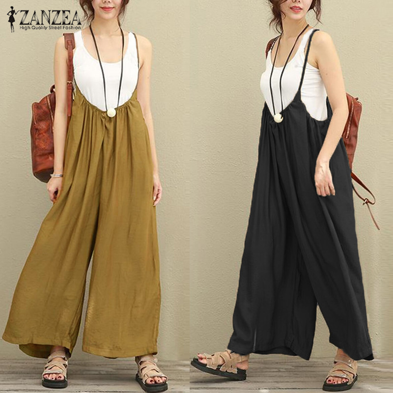 2019 New ZANZEA Women Overalls Rompers Plus Size S-5XL Sleeveless Dungarees Long Trousers Wide Leg Pants Cotton Linen   Jumpsuits