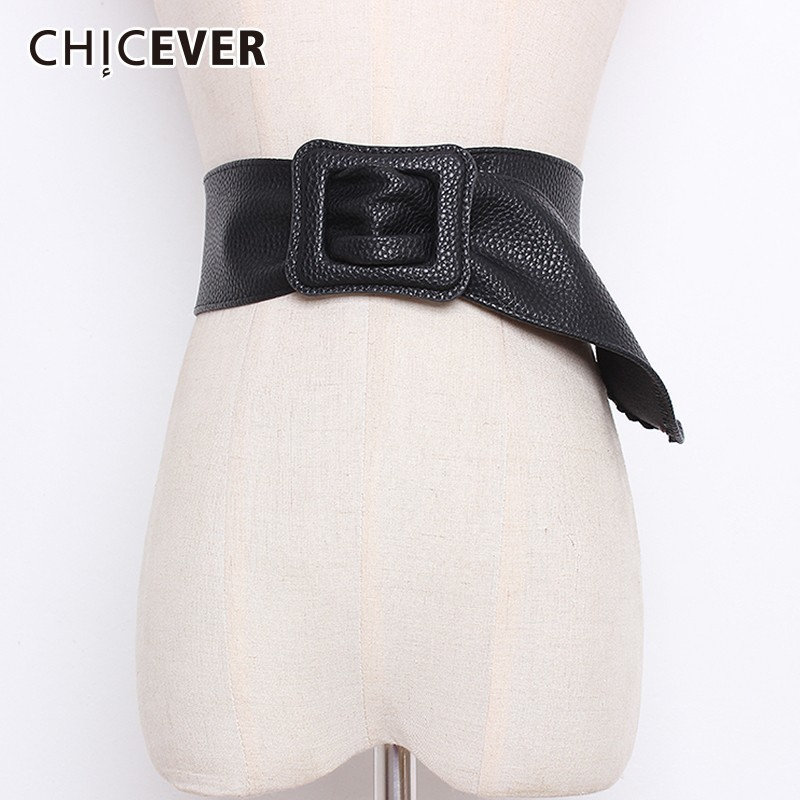 CHICEVER Autumn Winter PU Leather Wide Belts For Women High Waist Fashion Black Female Belts For Coat Accessories Fashion Tide