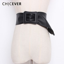 CHICEVER Autumn Winter PU Leather Wide Belts For Women High