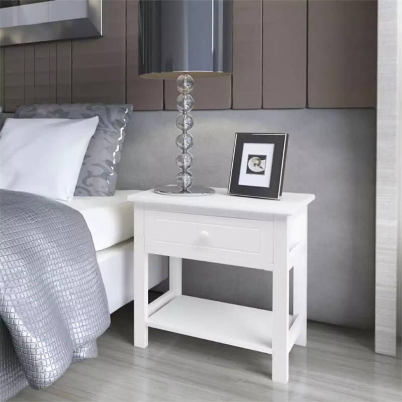 VidaXL White Bedside Cabinet Wood With A Smooth Drawer Use The Table As A Telephone Table Side Table Small Cabinet Free Shipping