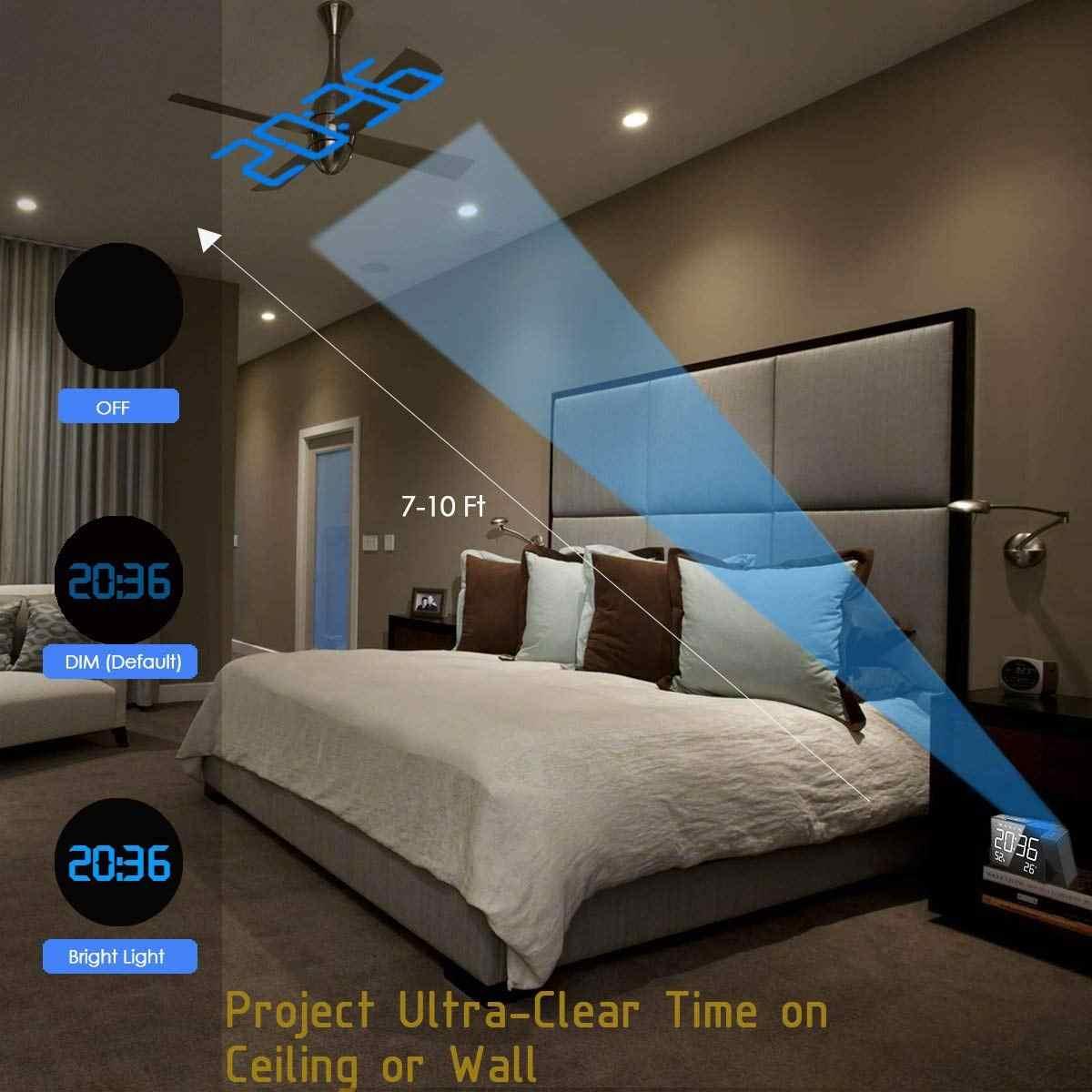Проекционный Будильник цифровой fm-радио двойной будильник громкость Повтор времени влажности температуры дисплей многофункциональные светодиодные часы