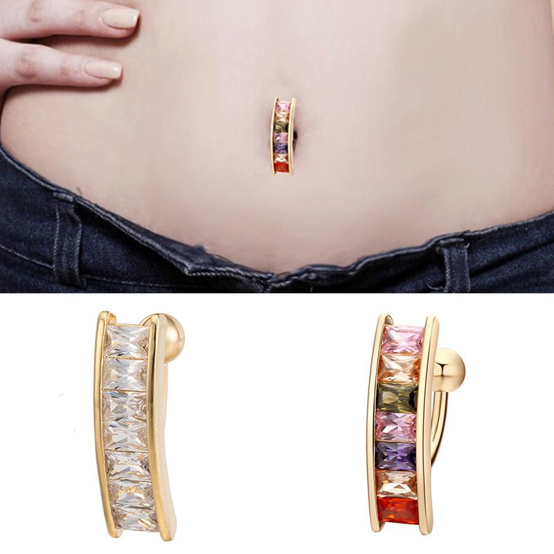European And American Style New Fashion Sexy Piercing Navel Nail Body Jewelry Square Crystal Belly Button Rings