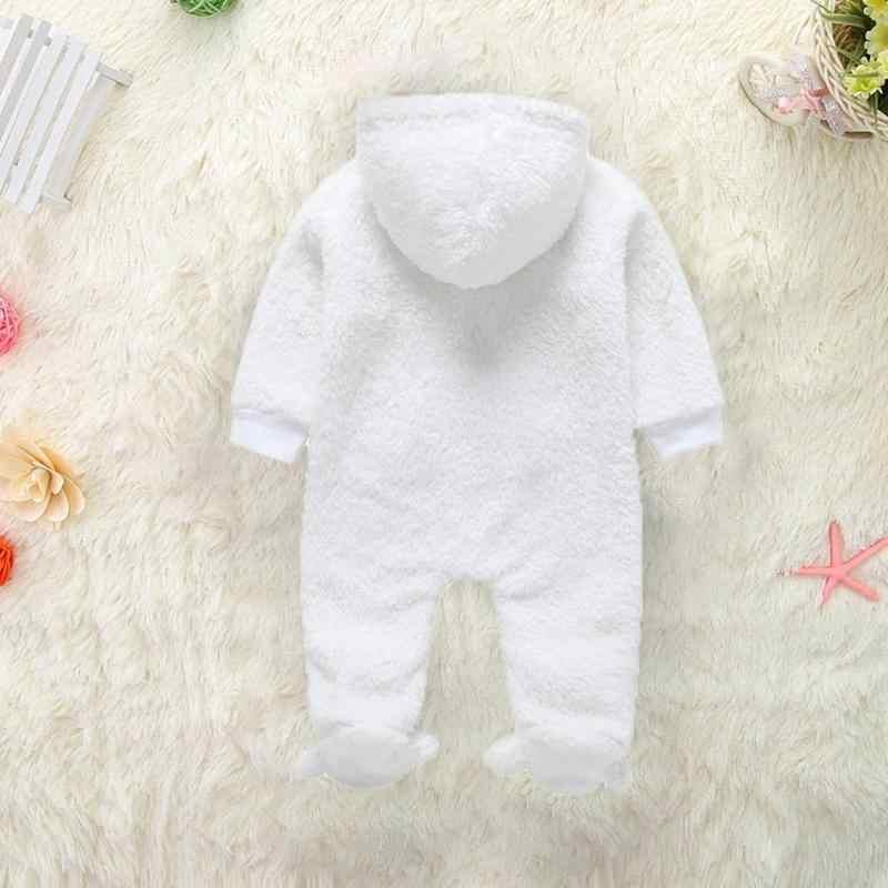 db476032dfc8 ... Newborn Baby Cute Rompers Kids Soft Fleece Cartoon Winter Warm Front  Zipper Hooded Long Romper Baby ...