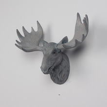 American Country Retro Deer Head Wall Animal Decorative Resin Pendant Home Mural Decoration