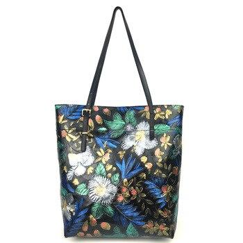 Natural Skin Shoulder Top Handle Bag Large Capacity Tote Shopping Bags Rose Pattern High Quality Genuine Leather Women Handbag