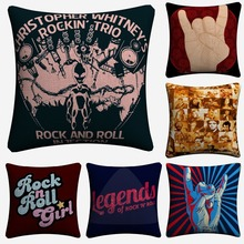 Rock And Roll Legends Never Die Decorative Cotton Linen Cushion Cover 45x45 cm For Sofa Chair Pillowcase Home Decor Almofada