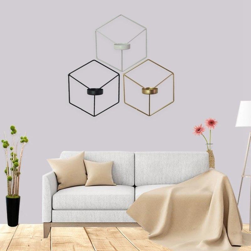 Europea De Hierro forjado creativo De la pared Visual Estilo nórdico gráfico geométrico 3d de pared de soporte de vela de Metal