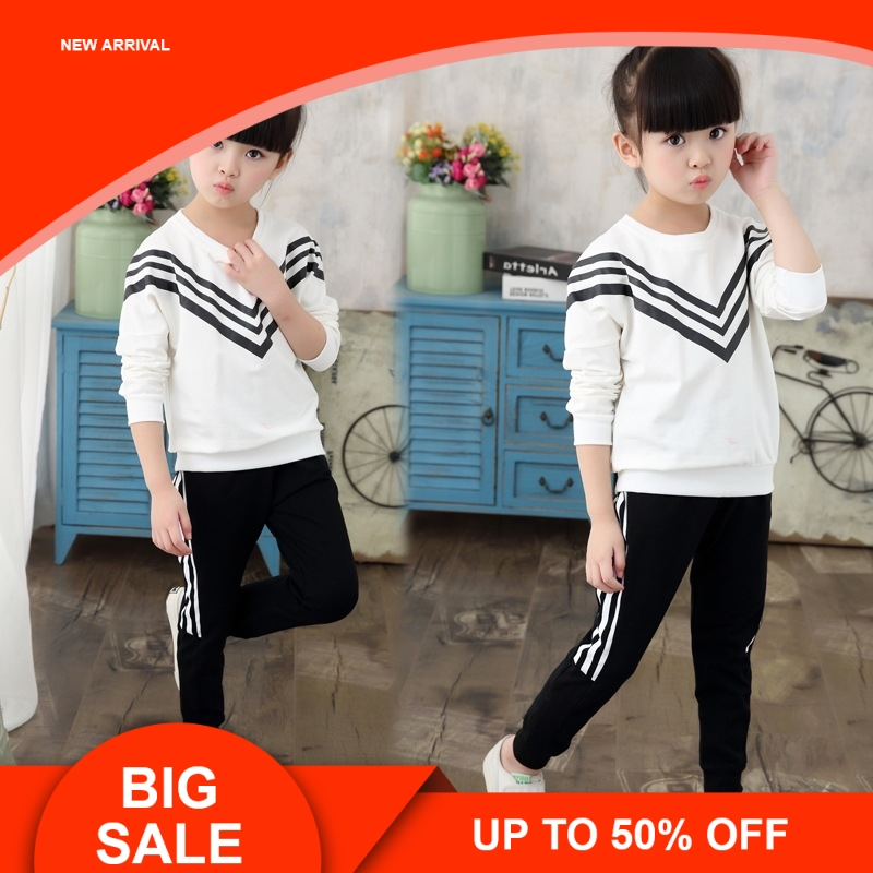 New Girls Sets 2019 Spring Autumn Baby Clothing Sports Sweater +Pants 2Pcs Suit Children 5 -13Y