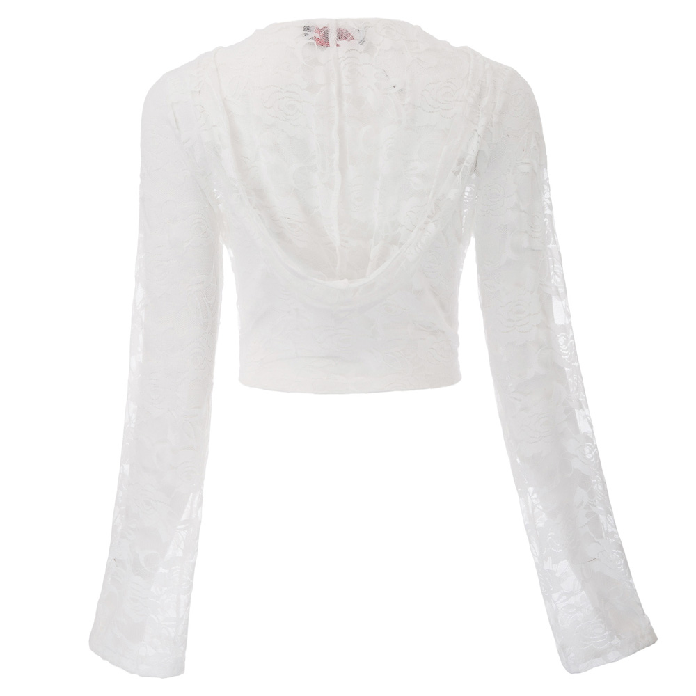 retro gothic hot short tops Transparent Chaqueta de mujer Women Vintage Steampunk Long Sleeve Hooded Lace Shrug Tie Front Bolero
