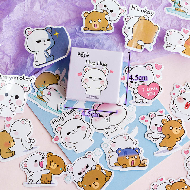 45Pcs/Box Cute Bear Stickers Kawaii Animals Stickers Adhesive Stickers For Kids Bullet Journal Diary Photo Album Classic Toys