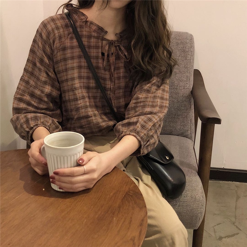 2019 New Spring Brown Plaid Check Cotton Women Blouse Shirt Turn-down Collar Long Sleeve Blouse Casual Loose Tops Female