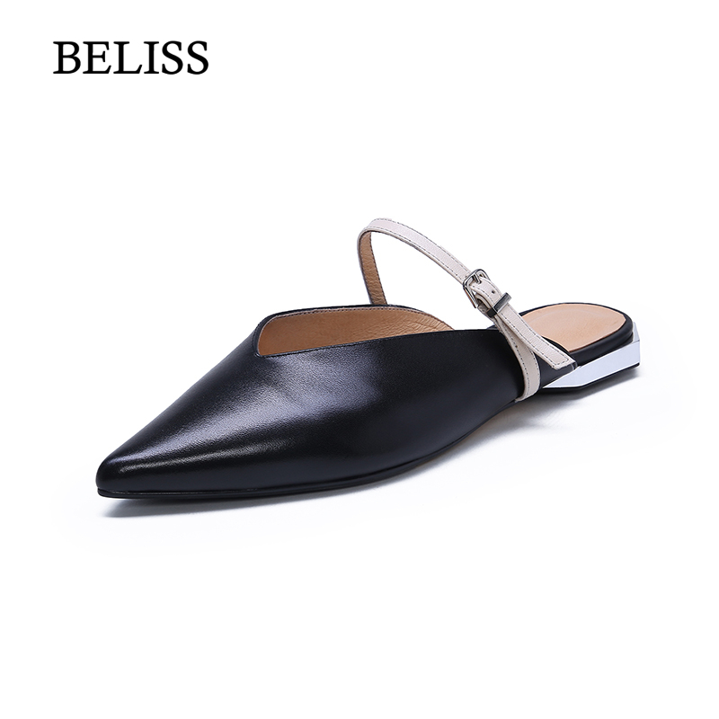 BELISS Fashion Slippers Women Point Toe Flats Mules Ladies Sandals Slippers Genuine Leather Sexy Slides Womens Shoes Slip On S40