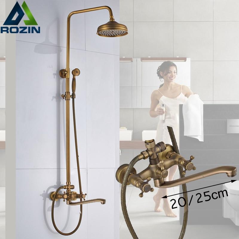 Brass Antique Shower Mixer with Handshower Wall Mounted 25cm Long Spout Bath Shower Faucet Rainfall Brass