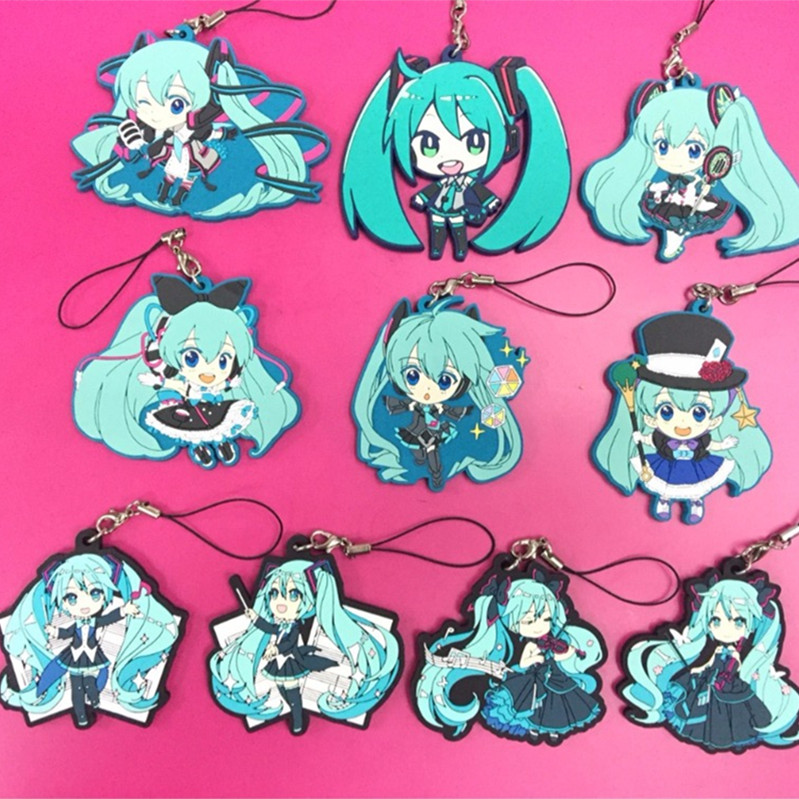 10 Pcs/lot Hatsune Miku Figurine Phone Strap Anime Vocaloid Figures Cosplay Pendant Keychain Two Dimensions Toy Doll Fans Gift