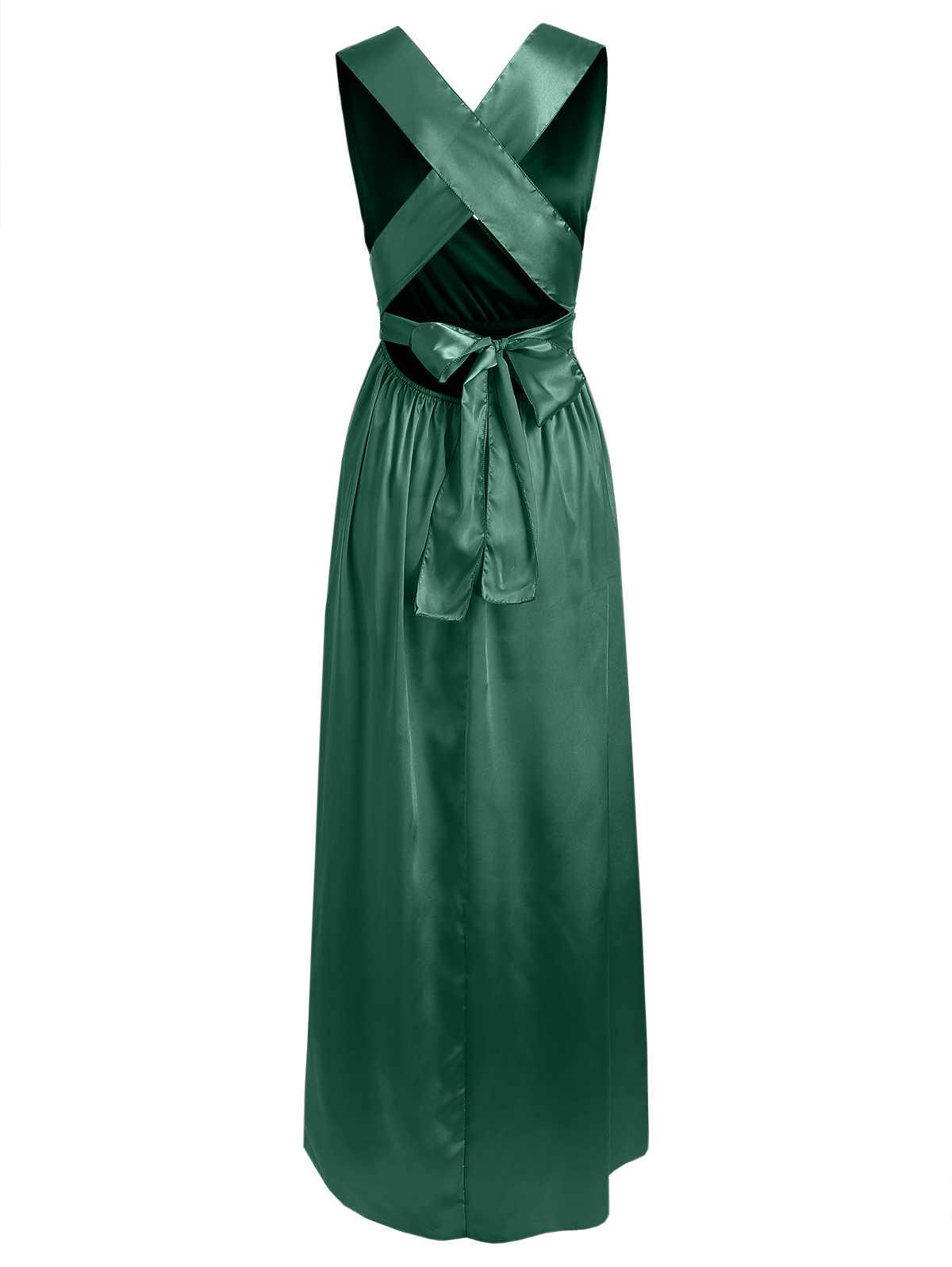 Kenancy kobiety Maxi sukienka nowości elegancka jedwabista seksowna głębokie V Wrap Party Vestidos De Festa zielony kolor formalne długie kobiety sukienka